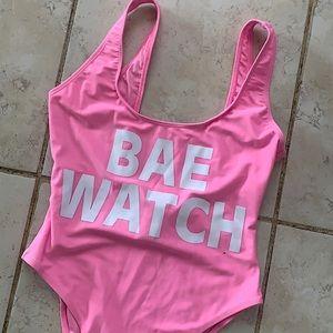 """Barbie Pink """"Bae Watch"""" bathing suit *never worn*"""